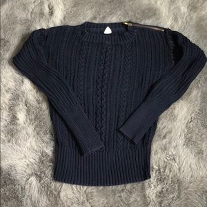 Navy cable-knit sweater